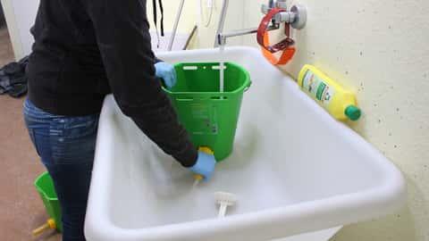 Frau wäscht Nuckeleimer mit Wasser und Bürste.